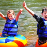 two kids after their tube ride Indian Head Canoeing Rafting Kayaking Tubing Delaware River