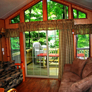 comfortable deluxe cabin living room Indian Head Canoeing Rafting Kayaking Tubing Delaware River