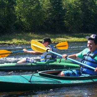 two men kayaking on Delaware River Indian Head Canoeing Rafting Kayaking Tubing Delaware River
