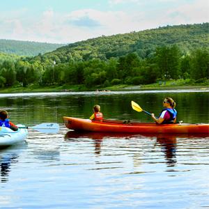 mom and son sharing kayak Indian Head Canoeing Rafting Kayaking Tubing Delaware River