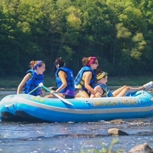 group finishing rafting in Pond Eddy Indian Head Canoeing Rafting Kayaking Tubing Delaware River