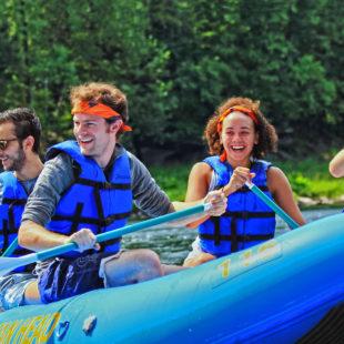 group of 4 friends on raft Indian Head Canoeing Rafting Kayaking Tubing Delaware River