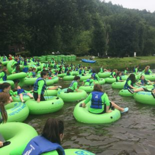 large group of tubers ready for Barryville Indian Head Canoeing Rafting Kayaking Tubing Delaware River