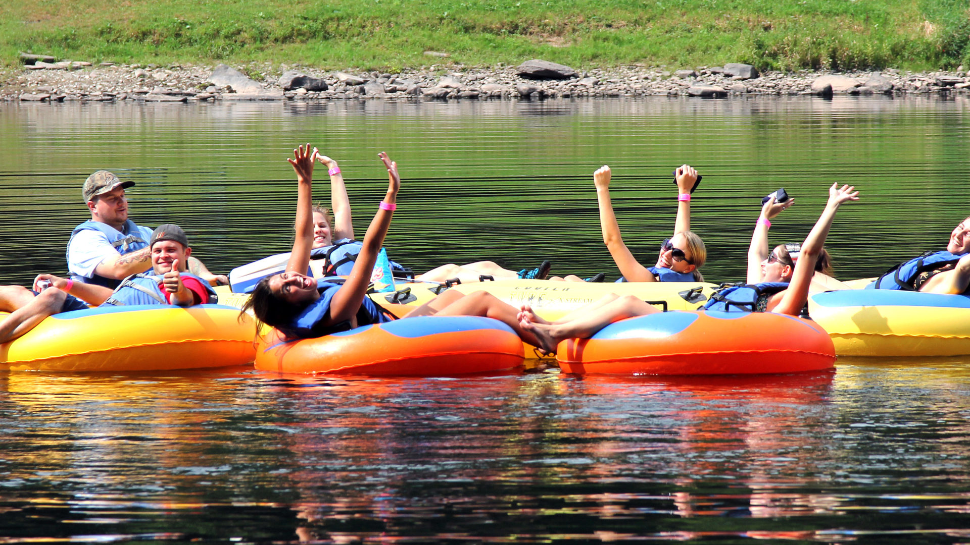 group of tubers enjoying the day Knights Eddy Indian Head Canoeing Rafting Kayaking Tubing Delaware River
