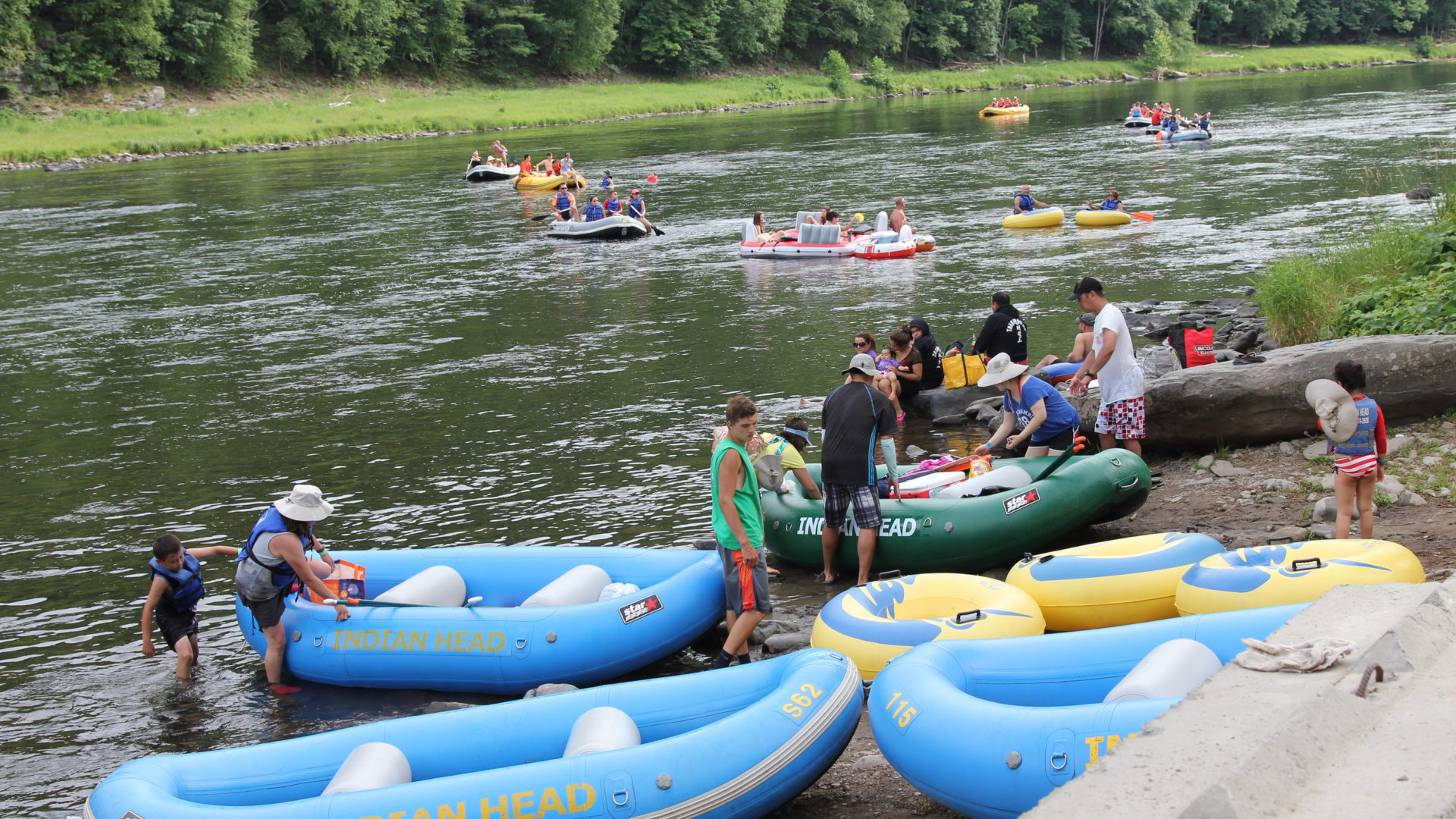guests getting ready to ride the river Indian Head Canoeing Rafting Kayaking Tubing Delaware River